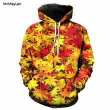 Leisure Sweatshirt Hoodies 3D Print Men / Women Hip Hop  Maple Leaf Multi-Color Hoodie Jacket Unisex Stylish Streetwear Pullover