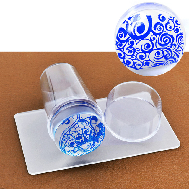 Rascador de estampado de uñas con tapa, placa de estampado de uñas de silicona, transparente, 2,8 cm, estampado de uñas, herramientas de manicura