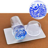 Unique New Design Pure Clear Jelly Silicone Nail Art Stamper Scraper with Cap Transparent 2.8cm Nail Stamp Stamping Tools
