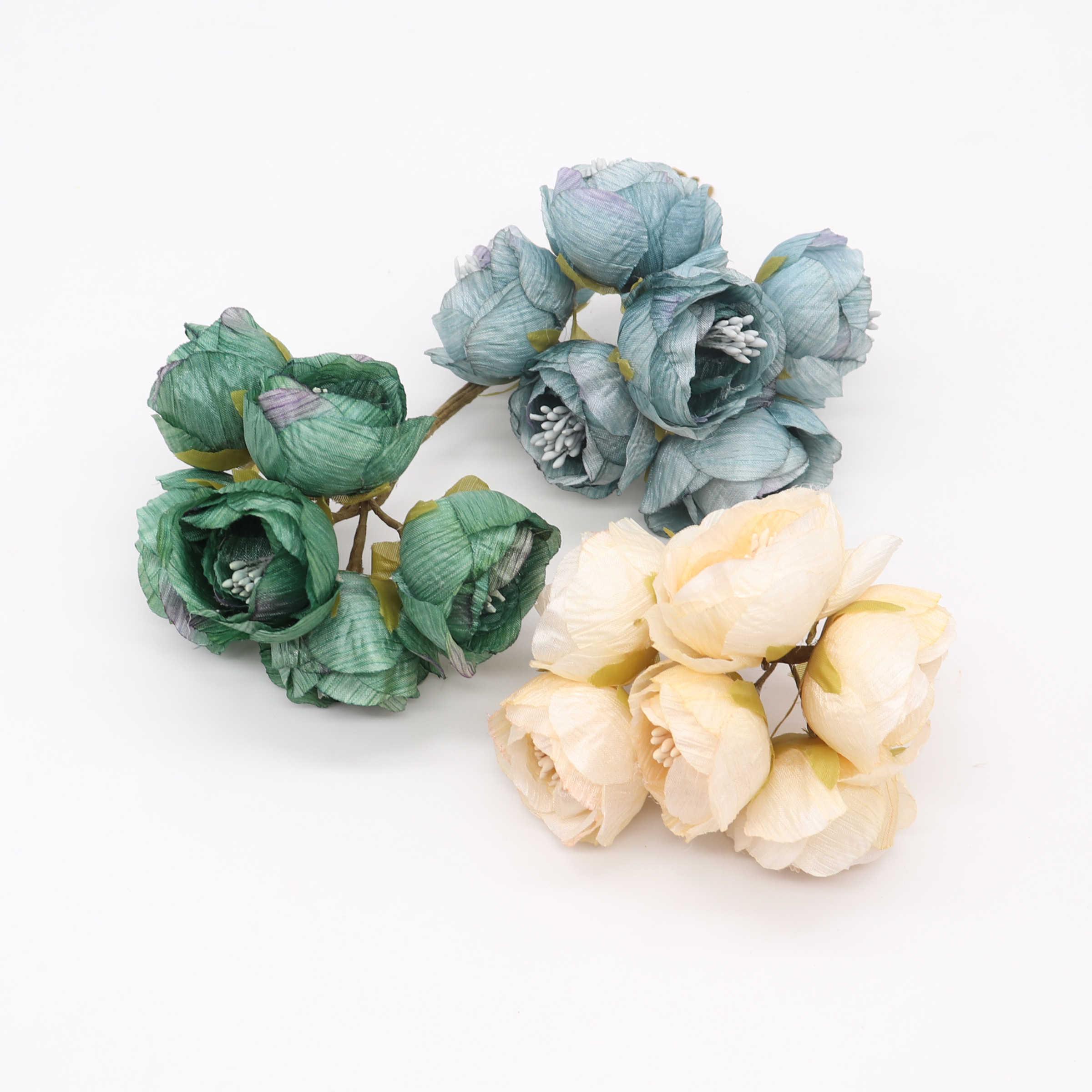 新 6 ピース/ロット造花おしべローズブーケ結婚式ホームパーティーの装飾 DIY 花輪スクラップブッククラフト偽花