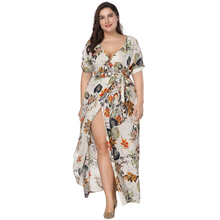 цены на Plus Size Floral Print Boho Dress 2018 Fashion Women Summer Short Sleeve V Neck Wrap Dress Split Sexy Beach XL to 7XL Dress в интернет-магазинах