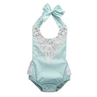 Kids Baby Girl Blue Spaghetti straps Halter lace Romper Backless Jumpsuit Lace Sunsuit Outfits 1 PC 0-18 M