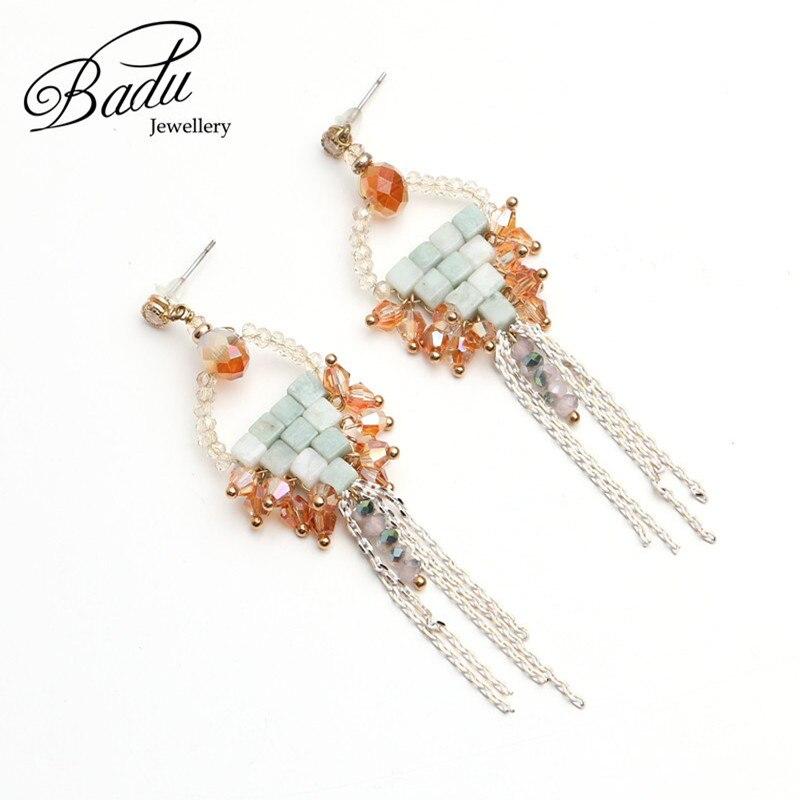 Badu Handmade White Chain Tassel Pendant Dangle Earrings for Women Elegant Vintage Style Fashion Jewelry for Black Friday Gifts