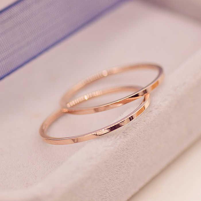 يون ruo أزياء ماركة روز خاتم الذهب والفضة اللون رقيقة ل امرأة رجل سيدة مجوهرات الزفاف 316 لتر الفولاذ الصلب أبدا تتلاشى