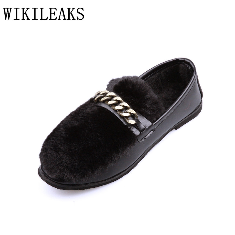 2018 luxury brand winter rabbit fur shoes women flats slip on loafers designer chain ladies shoes zapatillas mujer casual black black and white senior rabbit fur hat