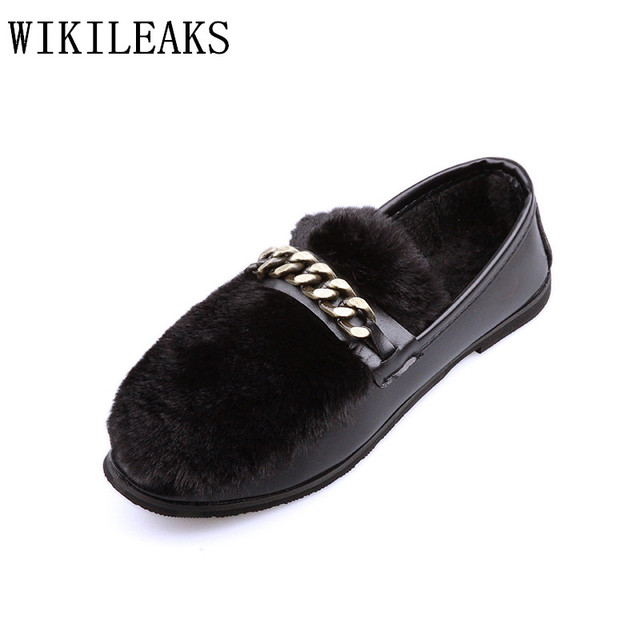 234be15b654 2018 luxury brand winter rabbit fur shoes women flats slip on loafers  designer chain ladies shoes