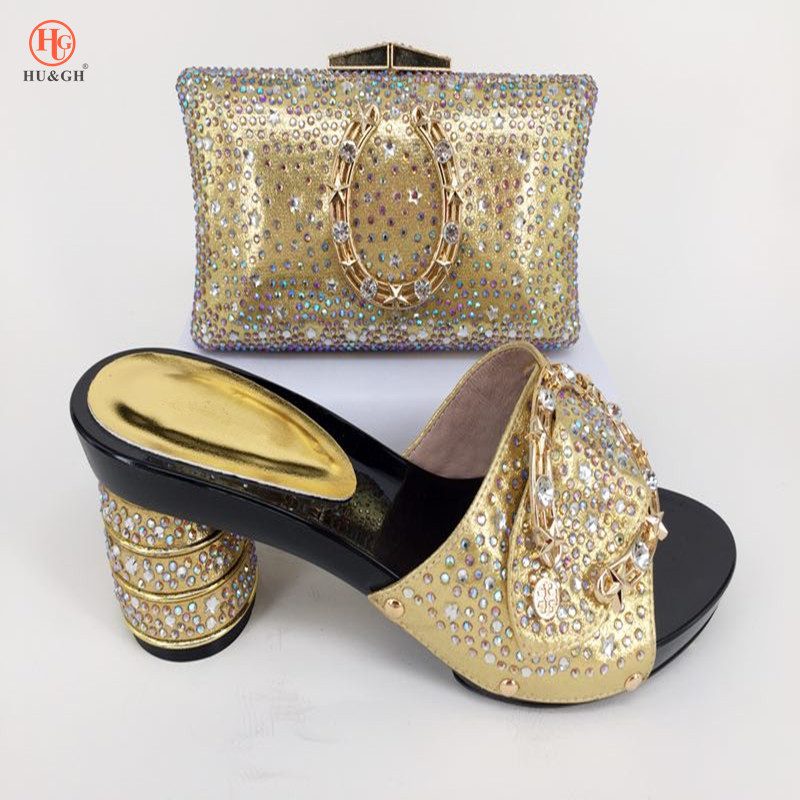 New Golden Color Italian Shoes with Matching bag For Party 2018 Fashion African Shoes And Bag Set For Wedding Shoe and Bag Set hot artist african style matching woman shoes and bag set new italian summer pumps shoe and bag set for wedding party g32