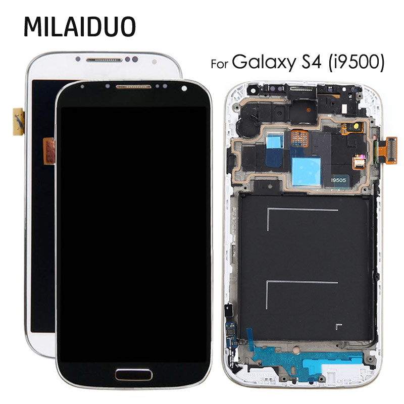 LCD Display For <font><b>Samsung</b></font> <font><b>Galaxy</b></font> <font><b>S4</b></font> GT-I9505 <font><b>I9500</b></font> I9505 i337 <font><b>Touch</b></font> <font><b>Screen</b></font> Digitizer Assembly with Frame Adjustable Brightness image