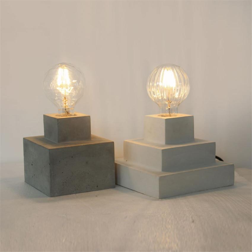 Led-lampen Retro Vintage Desktop Tisch Lichter Zement Gips E27 Edison-birne Desktop Dekorative Lampen Schlafzimmer Wohnzimmer Studie Zimmer Avize Diversifiziert In Der Verpackung Licht & Beleuchtung