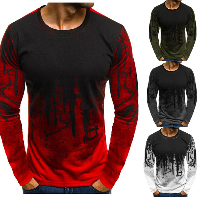 Men Camouflage Printed  Male T Shirt Bottoms Top Tee Male Hip hop Street wear Long Sleeve Fitness T shirts 29