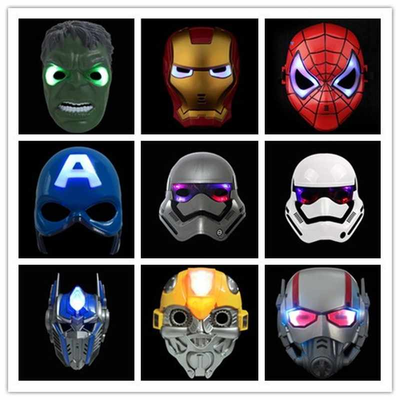 Grosir LED Batman Masker Spiderman Amerika Kapten Iron Man Hulk Star Wars Topeng Halloween Pesta Masker Cos Superhero Alat Peraga