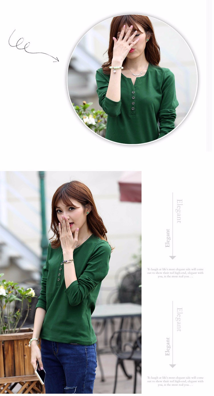 2016 New Plus Size 4XL Tops Women Spring Autumn Tshirt Casual Tees Fashion V Neck Long Sleeve Cotton T Shirts Solid Blusas A519 a