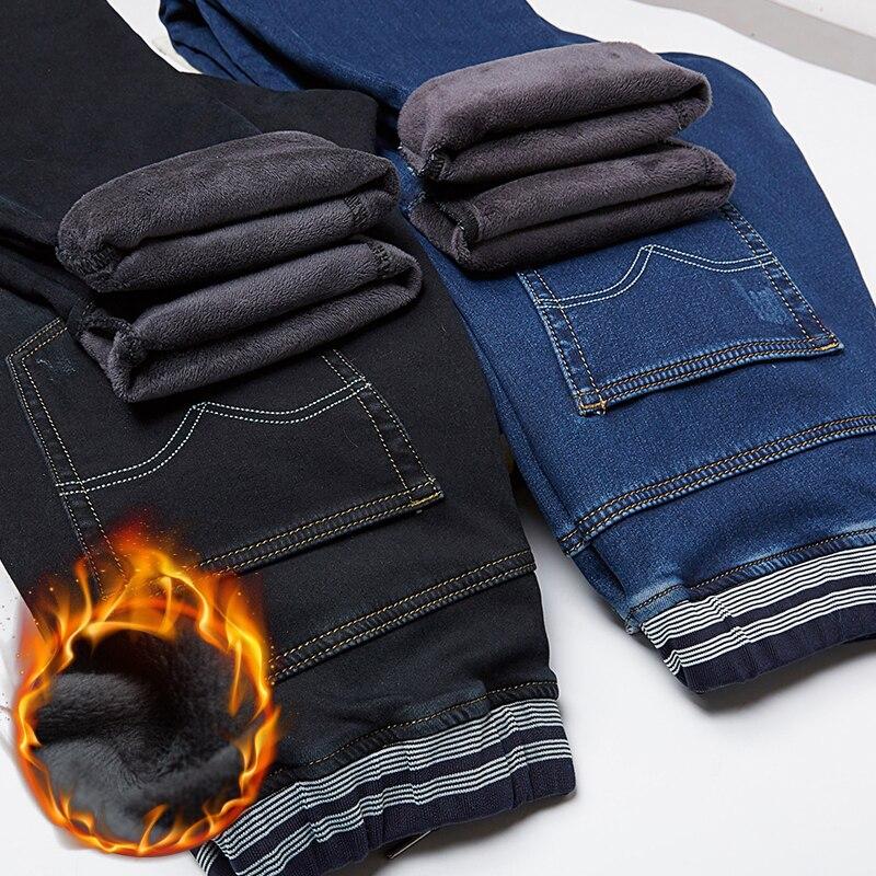 Straight Fleece Stretch Jeans For Men 2019 Winter Autumn Casual Long Warm Thick Plus Size L-7XL Baggy Denim Pants Trousers Male