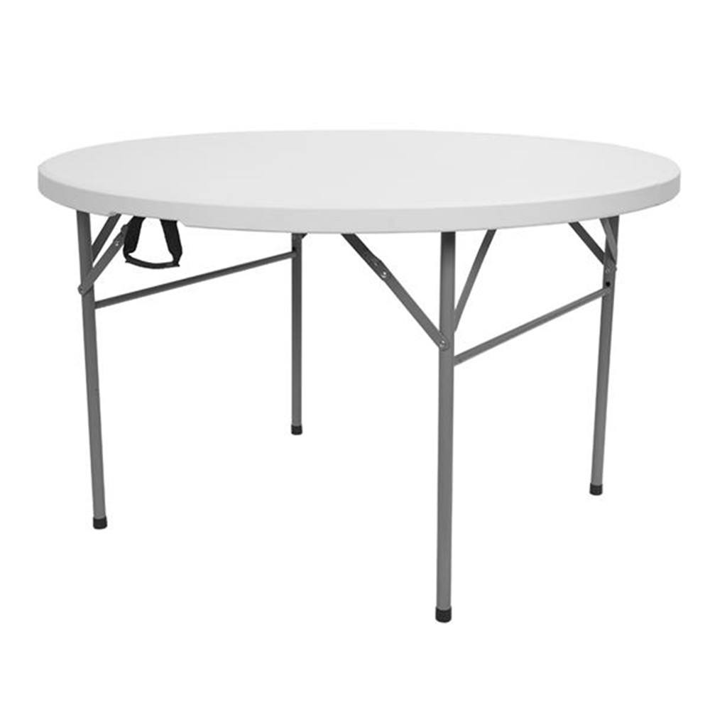 48inch Round Folding Table Outdoor Folding Utility Table White Home And Gardening Round Table For Travel For 4-6 Persons