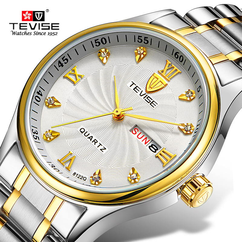 TEVISE Original Watch Automatico Stainless Steel Bracelet Automatic Self-Wind Watches Mechanical Auto Date Wristwatches 8122S tevise men automatic self wind gola stainless steel watches luxury 12 symbolic animals dial mechanical date wristwatches9055g