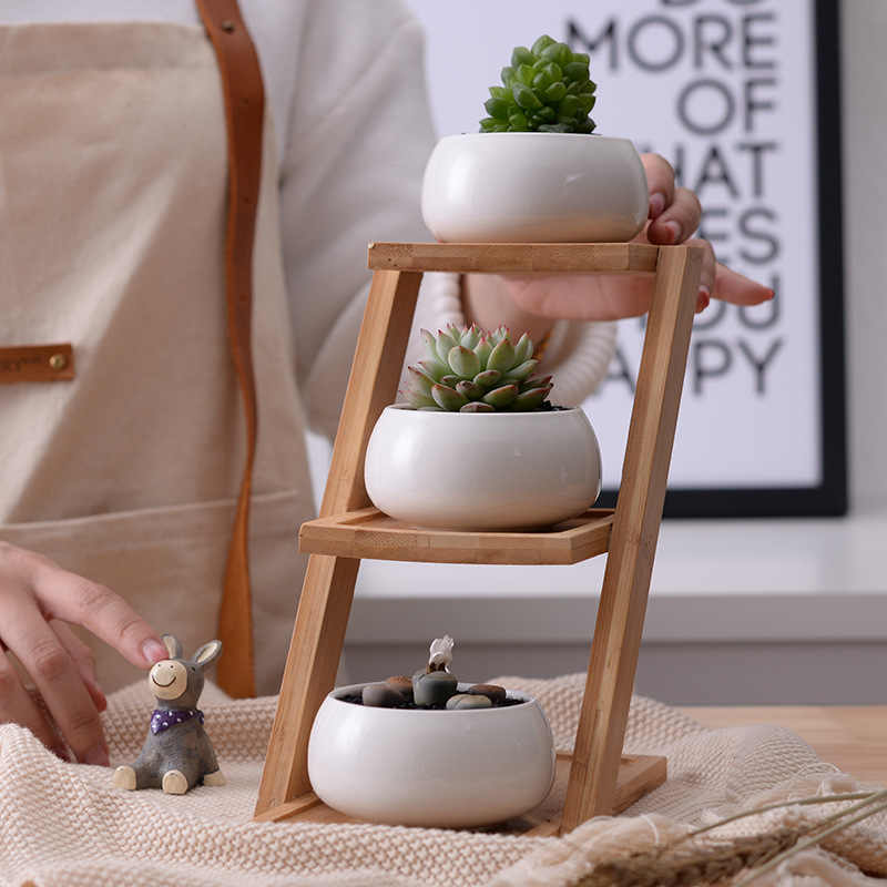 1 Set White Ceramic Flowerpot Modern Minimalist Succulent Plant Pot Home Garden Decor 3 Bonsai Planters with 3-Tier Bamboo Shelf