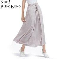 Spring Summer Bohemian Women Linen Cotton Long Skirt 2017 New Ladies Elastic High Waist Maxi Skirts