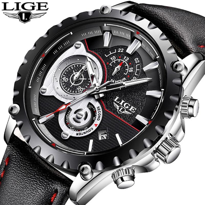 LIGE Luxury Brand Watch Men's Fashion Sport Military Quartz Watch Men's All Steel Business Waterproof Men's Relogio Masculino