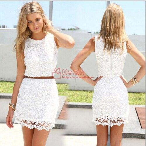 dress white lace sleeveless cute casual