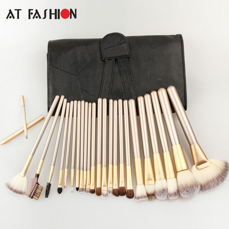 High Quality 24pcs Makeup Brushes Set Cosmetic Make up Brush Tool Kit Fan Foundation Powder Eyeliner Brushes With Leather Case msq 15pcs professional makeup brushes set foundation fiber goat hair make up brush kit with pu leather case makeup beauty tool