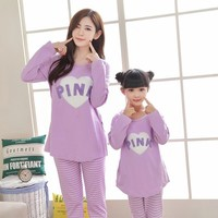 Mother And Daughter Clothes Cartoon Print Family Pajamas Spring Autumn Cotton Long Sleeve Mommy And Me Nightwear Sleepwear 2018