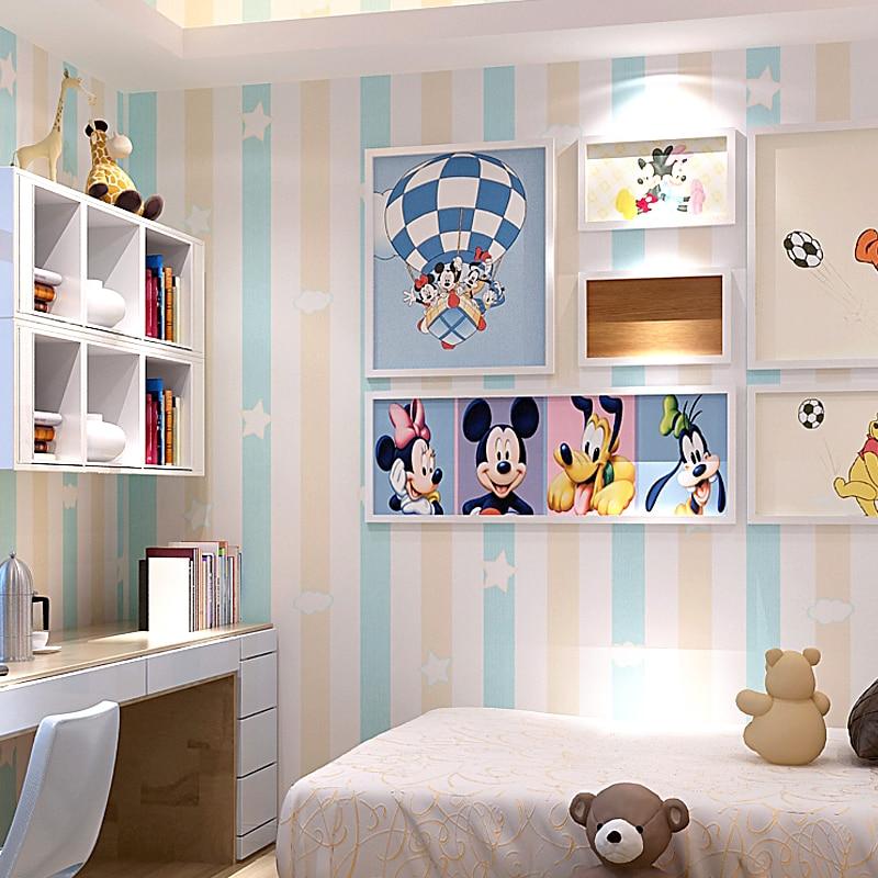 US $24.72 22% OFF Kinder Prinzessin Zimmer vlies Tapete Kinderzimmer Blau  Rosa Vertikale Striped Junge Mädchen Zimmer Schlafzimmer Cartoon Dekor ...