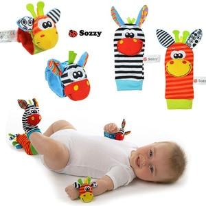 Image 5 - Sozzy chaussettes en peluche pour nouveau né, pour bébé, jouets, jolis motifs animaux, hochet de dessin animé