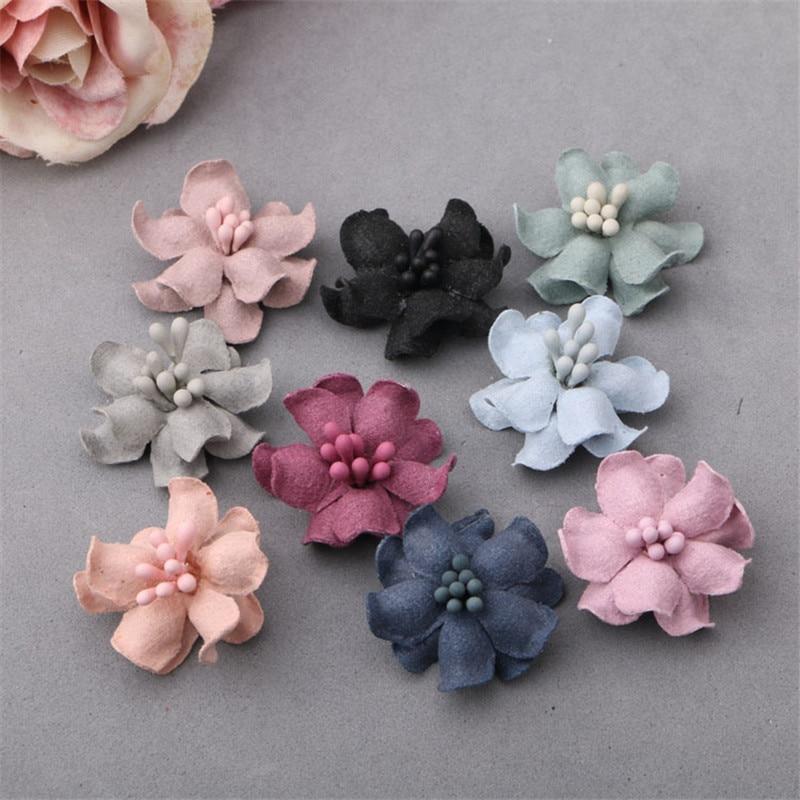 Newest 40PCs Microfiber Fabric Handmade Flowers Garment Ornament Accessory Girls Hair Jewelry DIY Flower Buton Patch Stickers