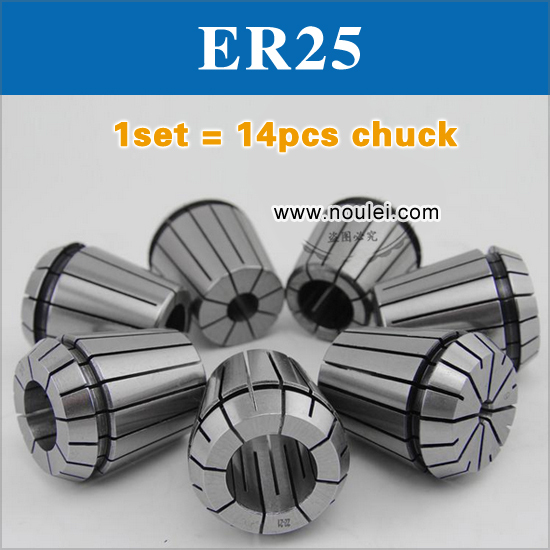 Top Quality ER25 collet chuck set 1-2.5mm 14 pcs from 1 mm to 2.5 mm for CNC milling lathe tool and spindle motor useful 15pcs set 2mm 16mm er25 precision spring collet for lathe chuck for cnc milling engraving machine best price