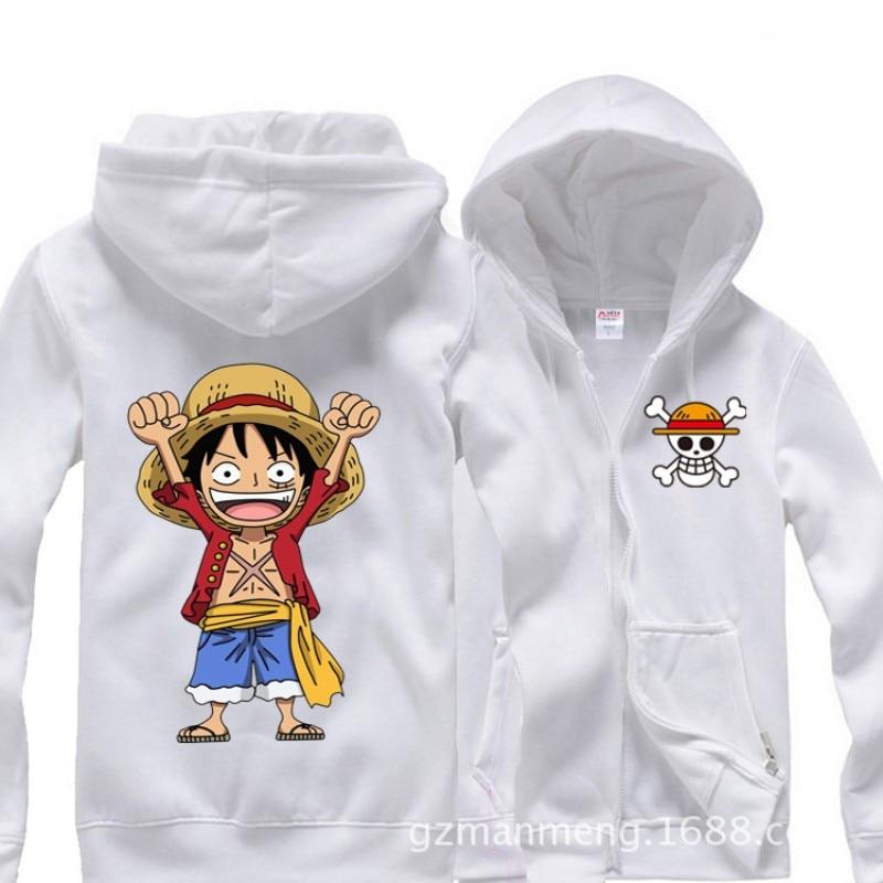 Men's Clothing Anime One Piece Monkey Luffy Hands Up Zipper Hoodies Sportswear Sweatshirt Cotton Add Plush Hoody Winter Cosplay Costume