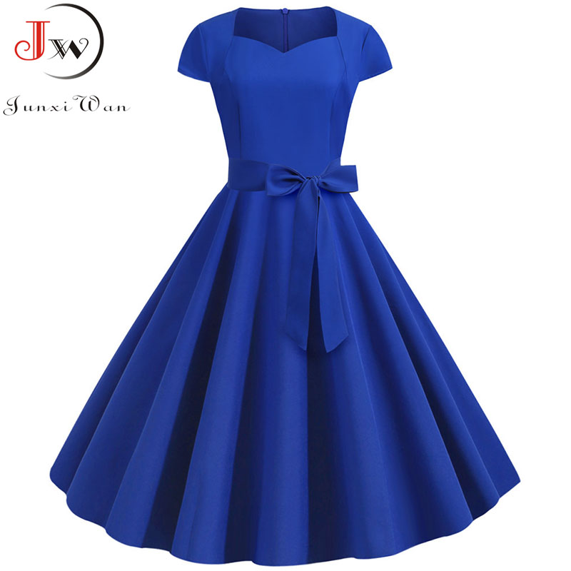 Summer Women Vintage Dress 50S 60S Short Sleeve Casual Elegant Retro Office Party Midi Dress Robe Femme Plus Size Solid Vestidos