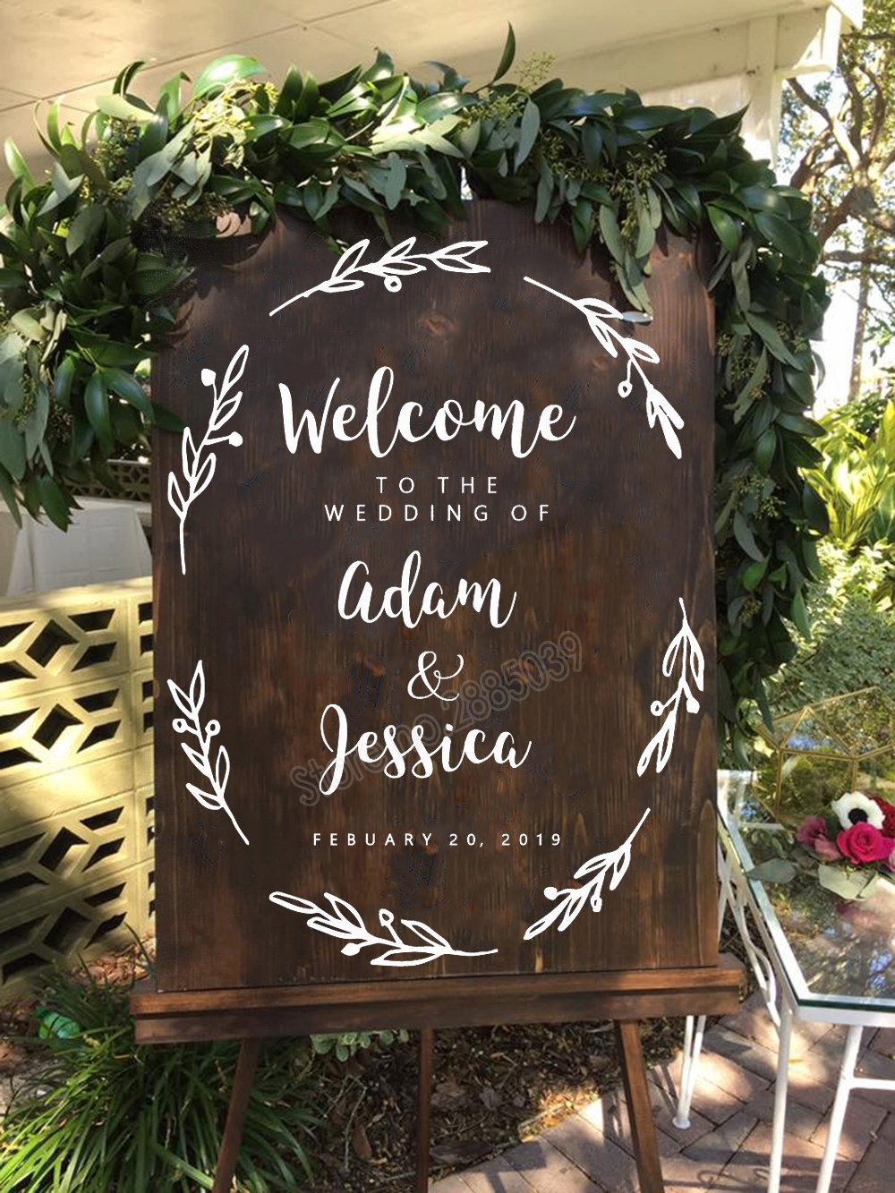 Custom Floral Welcome Sign Rustic Flower Vinyl Decal
