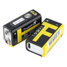 2pcs/lot TrustFire 9V 550mAh Rechargeable USB Lithium Battery with Safety Relief Valve and LED Indicator for Multimeter/Alarm