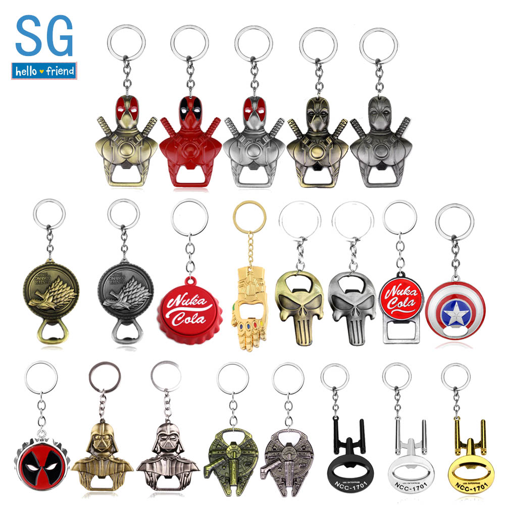 SG Hot Sale Avengers Star Wars Bottle Opener Keychains HP Deadpool Game Of Thrones Nuka Cola Punisher Men Summer Keyring Jewelry