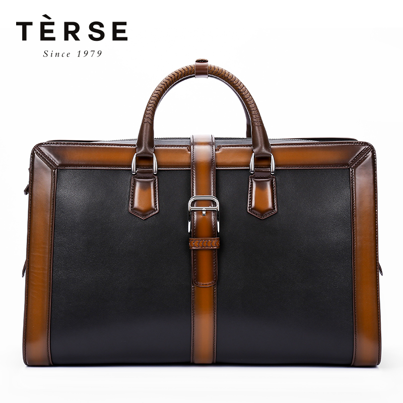 TERSE 2018 New Handbags For Men Handmade Genuine Leather Large Capacity Bag for Vintage Patchwork Zipper Bag Totes  9713TERSE 2018 New Handbags For Men Handmade Genuine Leather Large Capacity Bag for Vintage Patchwork Zipper Bag Totes  9713