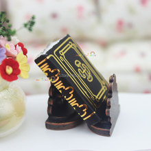 Dollhouse Miniature 1:12 Mini Book Bookends Metallic Stand Black for Barbie Doll Blythe