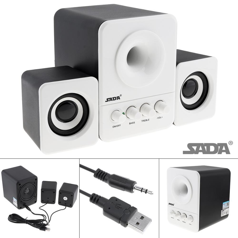 USB Wired 2.1 Mini Computer Speakers Subwoofer 3.5mm Jack for Desktop Laptop PC