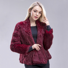 ZDFURS Australia New Genuine Colours Thick Knitted Real Rabbit Fur Jacket Women Winter Warm Fashion Lady