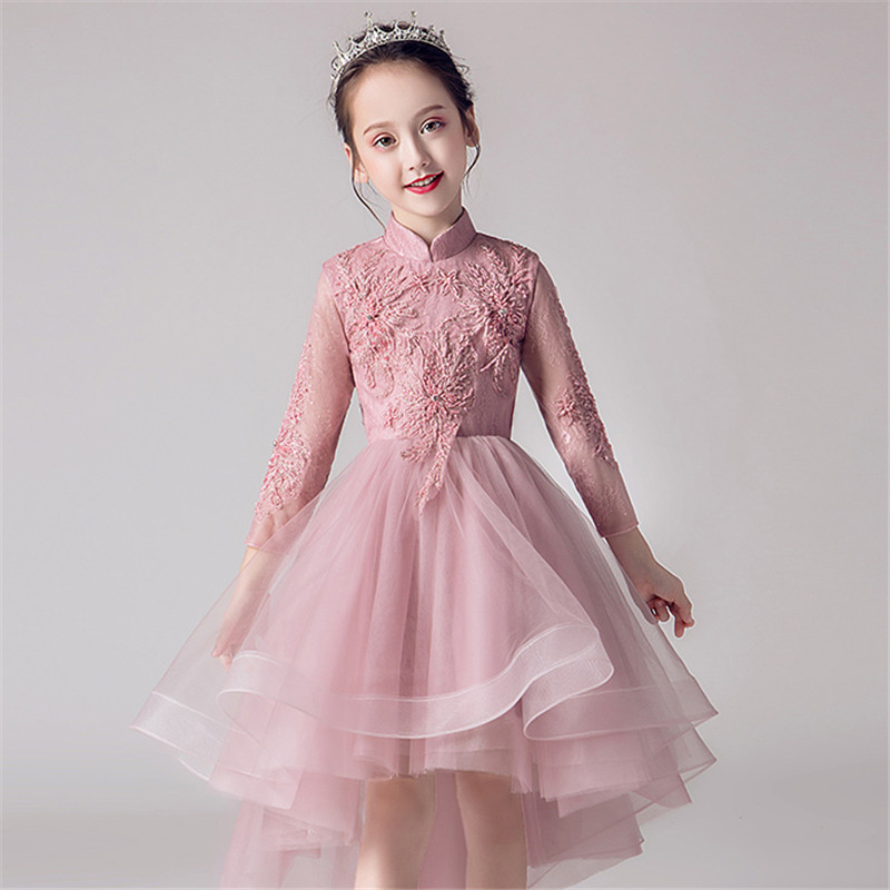 High Quality Children Teens Embroidery Lace Birthday Wedding Party Front Short Back Long Tail Dress Girls Evening Party Dress lace high low swing evening party dress