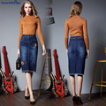 Jeans Faldas Para Mujer 2017 Nueva Primavera Bordado Urraca Retro Cowgirl Denim Falda Femenina Mujer Plus Tamaño S 4XL