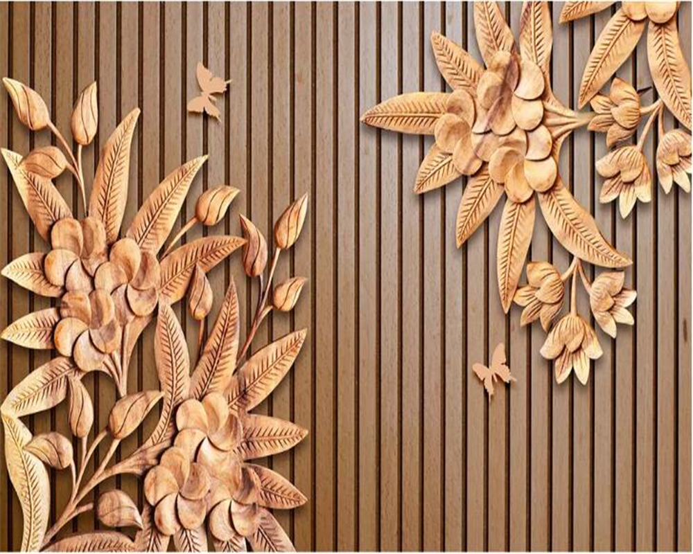 Buy Beibehang Photo Wallpaper New Chinese Wood Carving Flower Wood ...