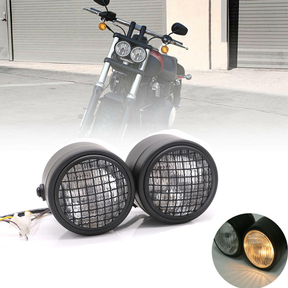 Motorcycle Twin Front Headlight lamp For Harley Street Fat Boy Dual Sport Dirt Bikes Street Fighter Naked Cafe Racer Headlight image