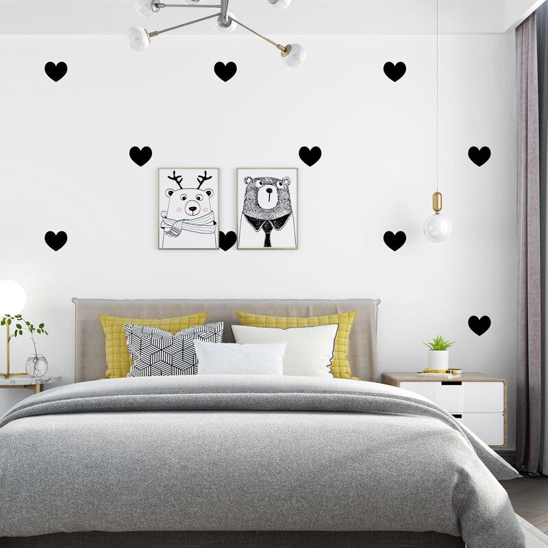 Nordique noir rose amour papier peint en forme de coeur pour Kids'Room salon chambre étanche papier germétrique papier peint décor à la maison