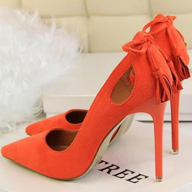 {D&H}Brand Woman Shoes Sexy Hollow Pumps Discount  Ivalentine Shoes Tassel High Heels Princess Wedding Shoes