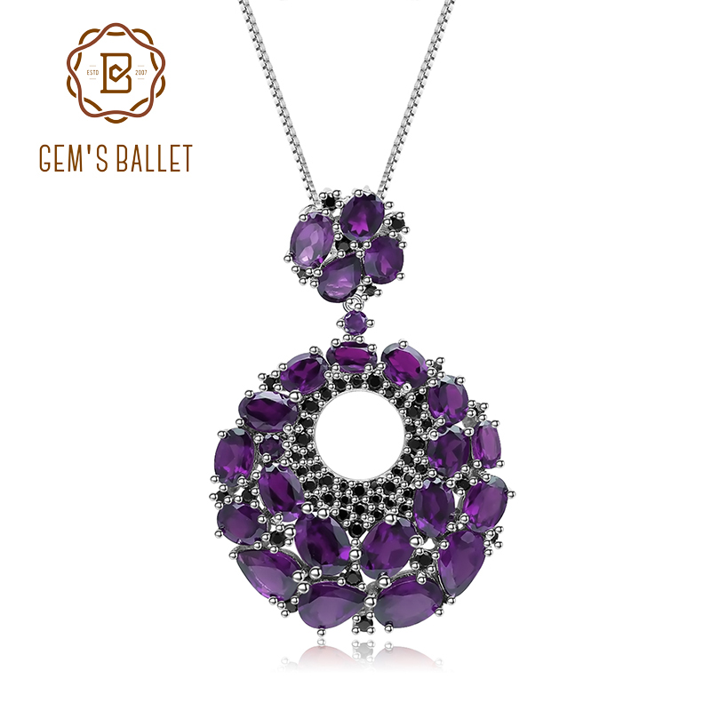 GEM'S BALLET 925 Sterling Sliver Pendant Natural Amethyst Gemstone Vintage Pendant Necklace For Women Gift Party Jewelry