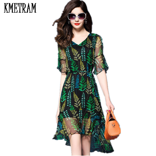 59448fb084c06 US $84.15 49% OFF|KMETRAM High Quality Natural Silk Dress Women Elegant  Floral Robe Bodycon Beach Party Dresses Vestidos Mujer Verano 2018  YJZ224-in ...