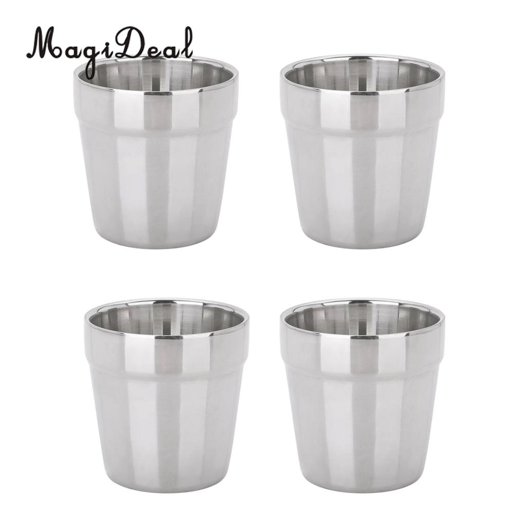 4 pieces Stainless Steel Cups Pint Cup Coffee Beer Mug