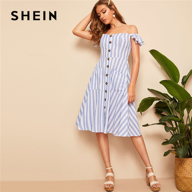 543c7b3a1886 SHEIN Blue Off Shoulder Shirred Back Buttoned Striped Midi Dress Women Boho  Pocket High Waist A Line Beach Summer Dress