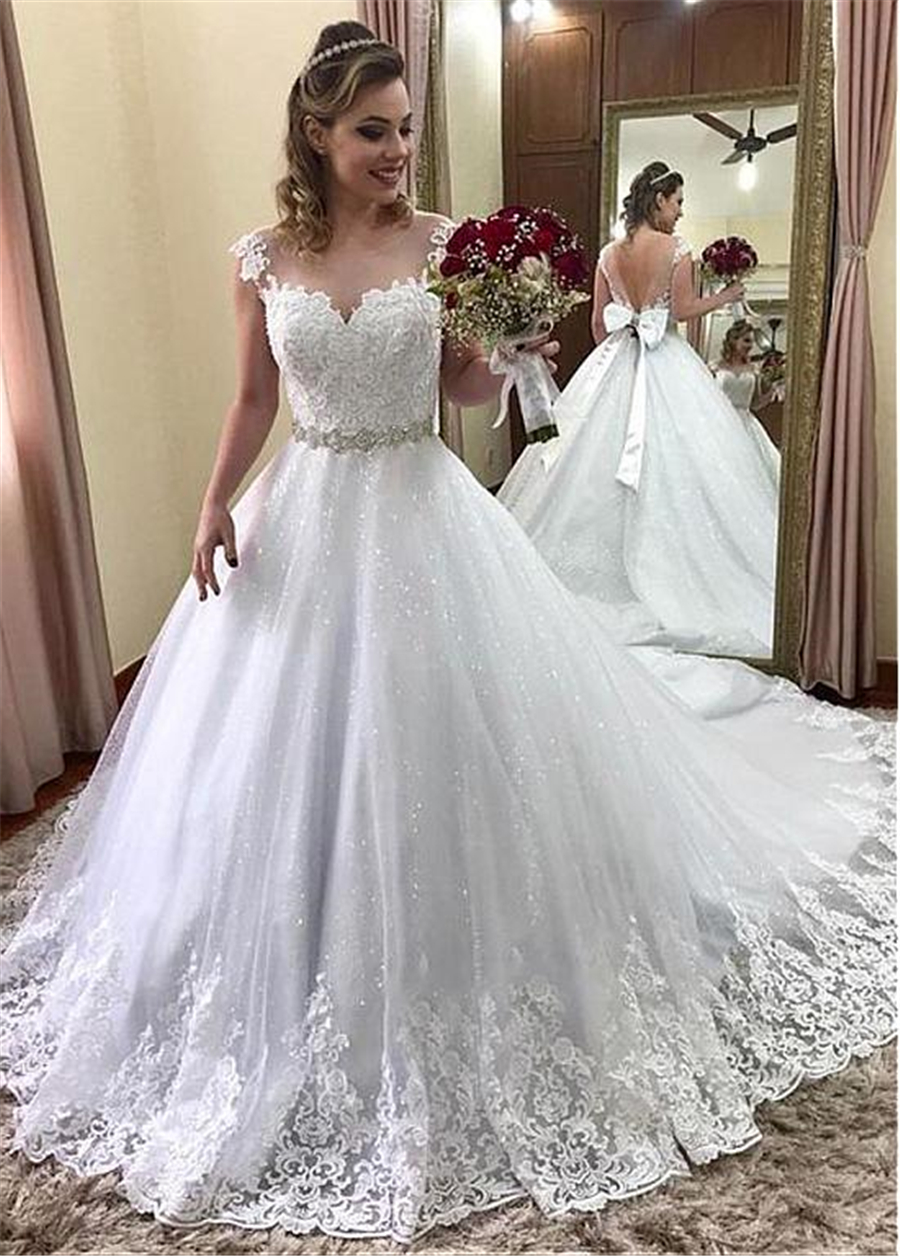 Unique Tulle Jewel Neckline A Line Wedding Dress With Beaded Lace