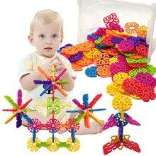 2019 Beautiful Snow Snowflake Building Blocks Toy Baby Children Educational Toy DIY Assembling Bricks Kids Classic Toys цена